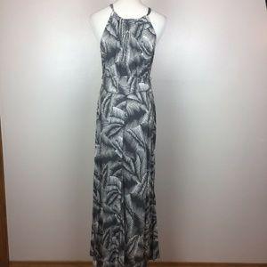 GAP Dresses - Gap Gray White Palm Leaf Tropical Maxi Dress M
